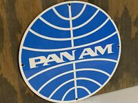 12in PAN AMERICAN PANAM PORCELAIN ENAMEL SIGN pan am  AVIATION Airlines airliner