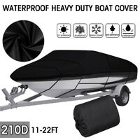 Waterproof Heavy Duty Boat Cover Fit V Hull Tri Hull Runabout Boat 11 ft 22 ft