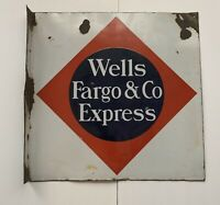 Antique Wells Fargo And Company Express Double Sided Flanged Porcelain Sign