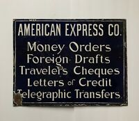 Original 2 Sided American Express Company Sign Porcelain