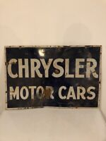 Vintage Chrysler Motor Cars Double Sided Porcelain Sign