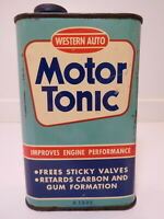 Original FULL unopened  vintage WESTERN AUTO MOTOR TONIC metal oil can