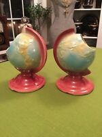 """Vintage Pair Shawnee Pottery USA 7"""" Globe Planters Bright And Colorful"""
