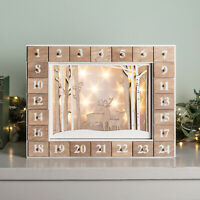 Pre Lit LED Battery Wooden Reindeer Christmas Advent Calendar with Drawers