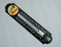 VINTAGE INDIAN MOTORCYCLES PORCELAIN THERMOMETER GAS MOTOR OIL BIKE CHIEF RARE