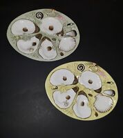 Oyster Plate Dish 4 Well Sea Shells Hand Painted Porcelain Collectible Set of 2
