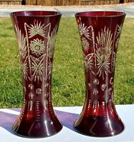 Pair 2~Vtg. Bohemian Czech Art Glass Cut To Clear Red Ruby Crystal Vase 12''
