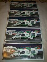 5 NEW 2001 HESS TOY TRUCK HELICOPTER WITH MOTORCYCLE AND CRUISER IN ORIGINAL BOX