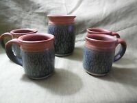 signed pottery hand-thrown set of 4 mugs & matching vase/canister