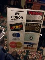 Vintage texaco Gas Station Credit Card sign collectable discover visa diners clu