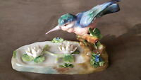 Stunning VTG Crown Staffordshire Kingfisher Bird Figurine Water Lilies JT Jones.