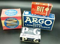 Vnt NOS Laundry Lot Argo Starch 1 lb box, P&G Soap, RIT Dye, Spence Clothes Pins