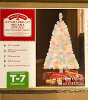 Indiana Spruce 4 ft Artificial Pre-Lit Multi-Color Lights White Christmas Tree