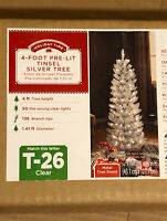 Holiday Time 4' Pre-Lit Tinsel Silver Christmas Tree Clear Lights