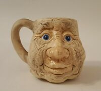 Old Man Caricature Face Clay Coffee Mug Stoneware Handcrafted