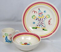 3 Piece Stangl Pottery Circus Clown Hand Painted Child's Kids Set Plate Bowl Cup