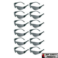 12 PAIR PACK Protective Safety Glasses Grey Smoke Lens Sunglasses Work Lot of 12 $11.50