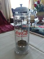 Vintage Coca Cola Straw Dispenser Holder Glass amp; Chrome Diner Style 1992