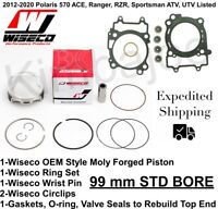 Polaris 570 ATV UTV Listed 99 mm STD BORE Wiseco Moly Forged Piston Rebuild