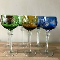 Lovely Set of 6 Hungarian or Bohemian Multicolor Tall Crystal Wine Glasses
