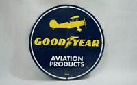 VINTAGE GOOD YEAR PORCELAIN SIGN GAS MOTOR OIL SERVICE STATION AVIATION AIRPLANE