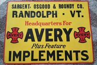 BF Avery & Sons Tractor Implement Dealer Sign Sargent Osgood Roundy Randolph, VT