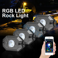 4 xRock Lights LED RGB Pods Bluetooth Music For Offroad ATV UTV Can-Am Underbody