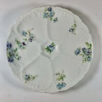 Antique O & E G AUSTRIA ROYAL Oyster Plate - 6 Shell Blue Rose Pattern