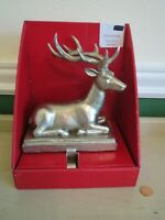 Laying Down Deer Christmas Stocking Mantle Holder Hook Antiqued Silver Tone New