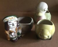 Three Mccoy USA Art Pottery Small Planters Pig Duck Pirate