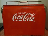Gearbox 2001 Vintage Style Coca-Cola Metal Red and Chrome Cooler