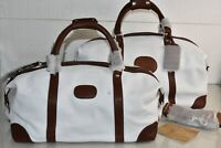 $2990 NEW Ghurka 2 PC SET CAVILER 096 097 Duffel Bag White Brown Leather LUGGAGE