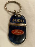 Vintage Ford Motor Company Metal Key Chain Blue Gold Red