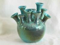 Dryden Pottery, Hot Springs AR, Hand Thrown Multi Neck Loi Vase, 1979, Exc. Cond