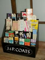 60s Vtg J.&P. COATS GENERAL SToRE CounTer MeTaL Adv DispLaY RACK &SEWiNG NoTions