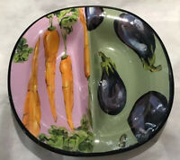 Droll Designs two sided vegetable dish, carrots and eggplant pattern