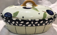 Droll Designs 3 quart covered hand painted serving bowl. Plum pattern cover.