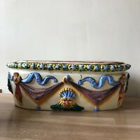 Lovely Antique Italian Majolica Deruta Raffaellesco Planter