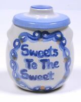 M.A. HADLEY POTTERY Blue Country Pattern: HONEY POT Sweets To The Sweet 4.25