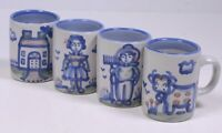 Lot (4) M.A. HADLEY POTTERY Blue Country Pattern: MUGS - Cow HEN Sheep HORSE