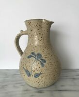 Large Neutral Handmade Artisan Stoneware Pitcher Pottery Signed Earth Tones