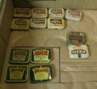 Vintage Pain Reliever 13 Advertising Tin Lot Bayer Anacin Certified McKesson