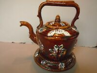 ANTIQUE MEASHAM BARGE WARE TEA KETTLE ON STAND, GOD BLESS OUR HOME