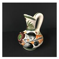 Mexican Pottery Pitcher Hand Painted and Signed Pre-owned Black Orange Green