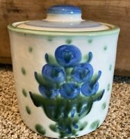 Vintage MA Hadley Pottery Canister Jar Crock Lid BOUQUET Blueberry 5 1/2