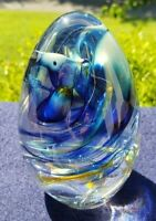 Perfect Signed glass paperweight Blues, Gold, Clear 4