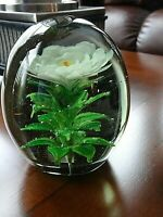 Large Glass Crimp Flower Paperweight Doorstop 4 Layers of Leaves 4.65