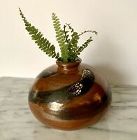 Artist Signed Stoneware Earthware Pottery Iron Red Asian Flair Bud Vase Pot Bud