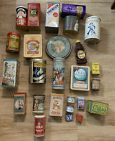Vintage Large Lot of 26 Advertising Tins: Ritz, Nabisco, Quaker Oats, Nestle Etc