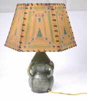 ANTIQUE FULPER POTTERY ARTS amp; CRAFTS LAMP amp; SHADE Four Handled